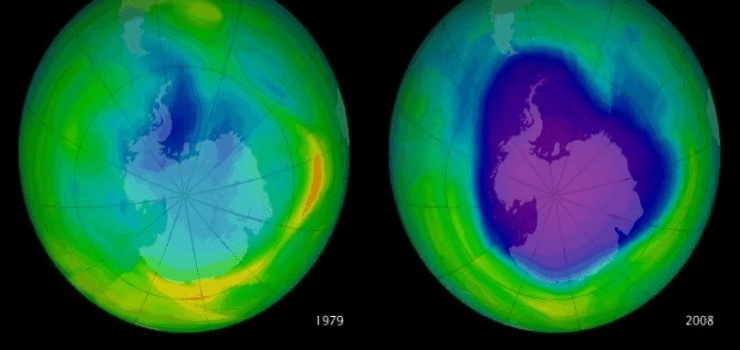 two side by side images to show the difference in the the ozone hole